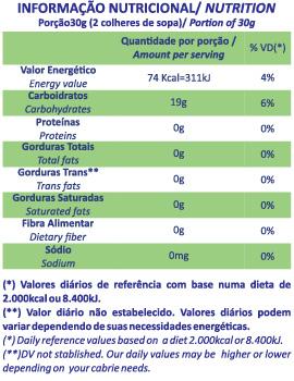 Tabela Nutricional goma de mandioca