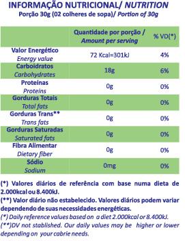 Tabela Nutricional polvilho azedo