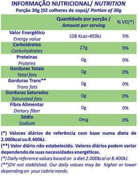 Tabela nutricional tapioquinha